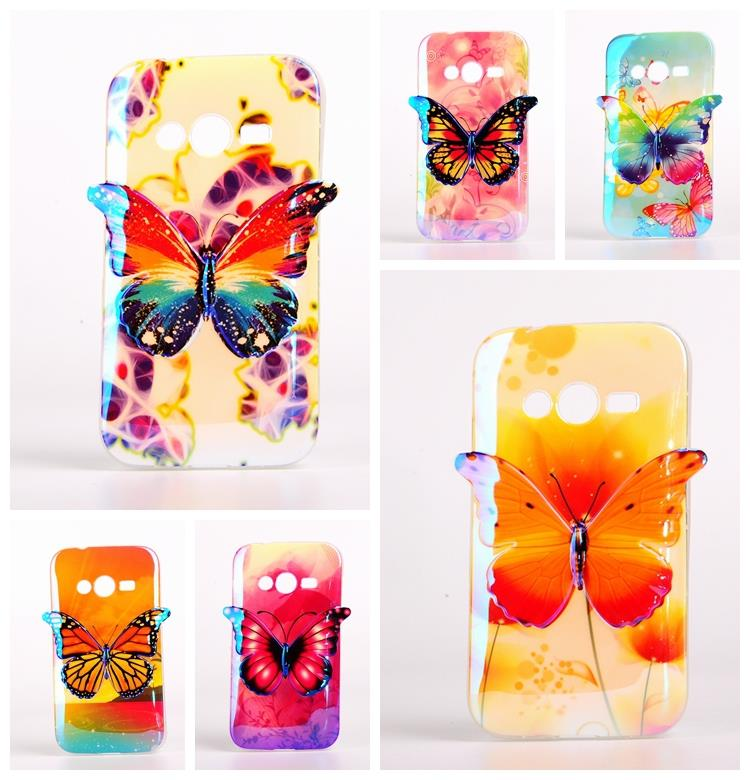 New Product 3D Butterfly Soft TPU Mobile Phone Case Cover For Samsung Galaxy Ace 4 NXT G313 G313H Gift Bag(China (Mainland))