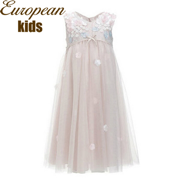 Платье принцессы девушки 2015 завышенной талией девушки ну вечеринку платья сетки кружева золушка художник по костюмам для детей одежда 2-10Y