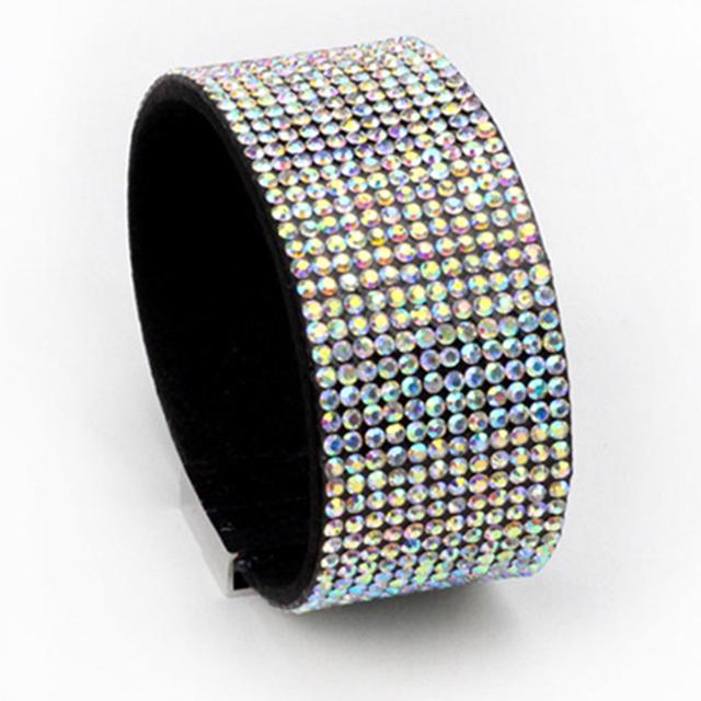 Мода 12 дренаж бурение кожаный браслет полный горный хрусталь кристалл кабо браслеты ...