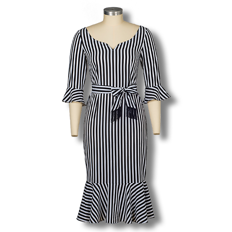 2015 New Fashion Summer Style Brief Women Casual Dress 3 4 Flare Sleeve Striped Trumpet Dreses