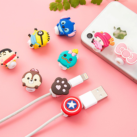 New Cute10pcs/lot Cartoon USB Cable Earphone Protector headphones line saver For Samsung HTC charging line data cable protection(China (Mainland))