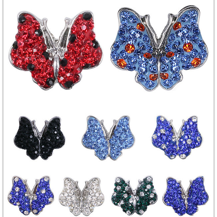 Mix colors  Rhinestone 18mm Heart Butterfly Snap Button Hot wholesale 50pcs/lot Charm  Button Ginger Snaps Jewelry diy making<br><br>Aliexpress