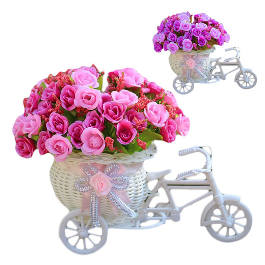 hot selling Home Furnishing Decorative Floats Bicycle Basket Weaving Simulation Set Diamond Rose Flowers Jun16 Extraordinary(China (Mainland))