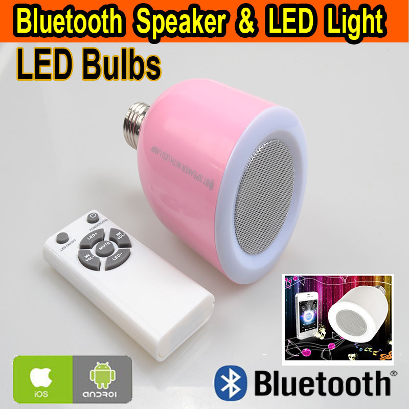 E27 Lamp Bulb 110V 220V IR Remote Night Light Home Smart LED Bluetooth Speakers Compatible Android IOS(China (Mainland))