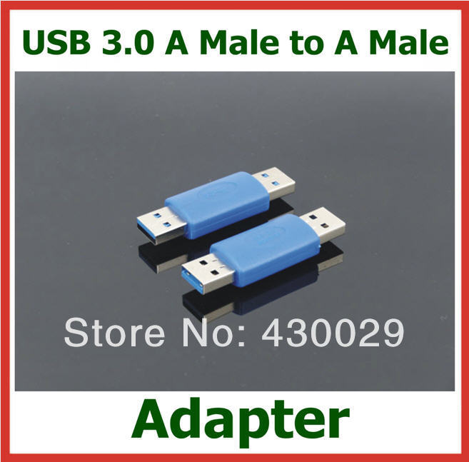 10pcs USB3.0 AM to AM Converter Adapter Extender USB 3.0 A Male to A Male Cable Connector(China (Mainland))