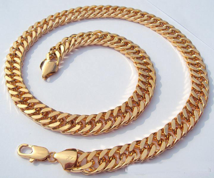 Hot sale MENS 24K SOLID GOLD FILLED FINISH THICK MIAMI CUBAN LINK NECKLACE CHAIN(China (Mainland))