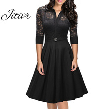 Buy Women 2017 Causal Lace Dress Polyester Medium Dress Ladies Hollow Solid Pleated Dresses Female Summer Sexy Dress Plus Size for $34.02 in AliExpress store