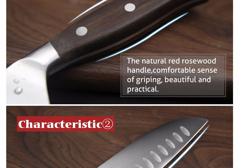 Buy XINZUO 7 inch Japanese chef knife German steel kitchen knife super sharp santoku knife rosewood handle kitchen tool free shiping cheap