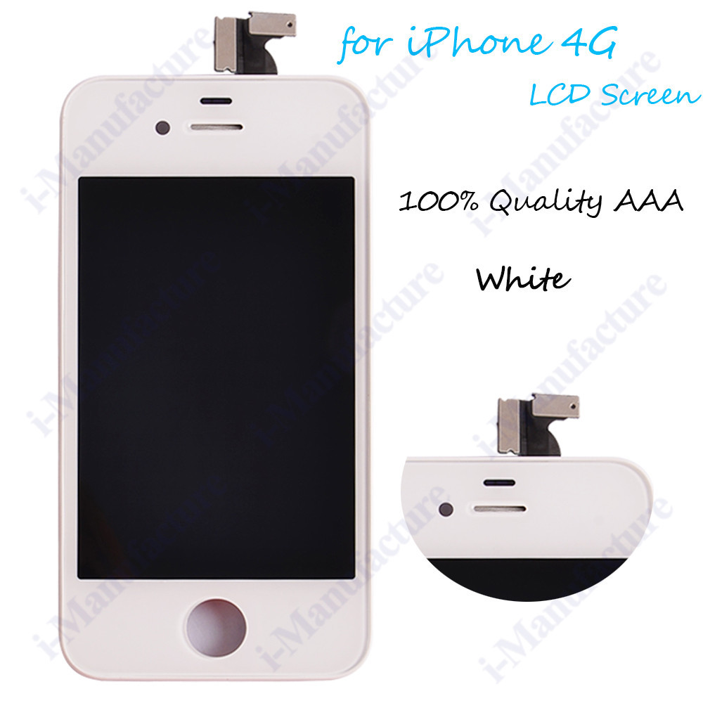 100Pcs/Lot White- Parts For Iphone 4 4G LCD Assembly Display Touch Screen Digitizer Replacements(China (Mainland))