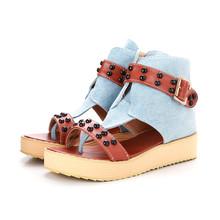 Buy Spring autumn platform denim canvas women wedges sandals fashion ladies casual thick sole beach sandals for $25.80 in AliExpress store