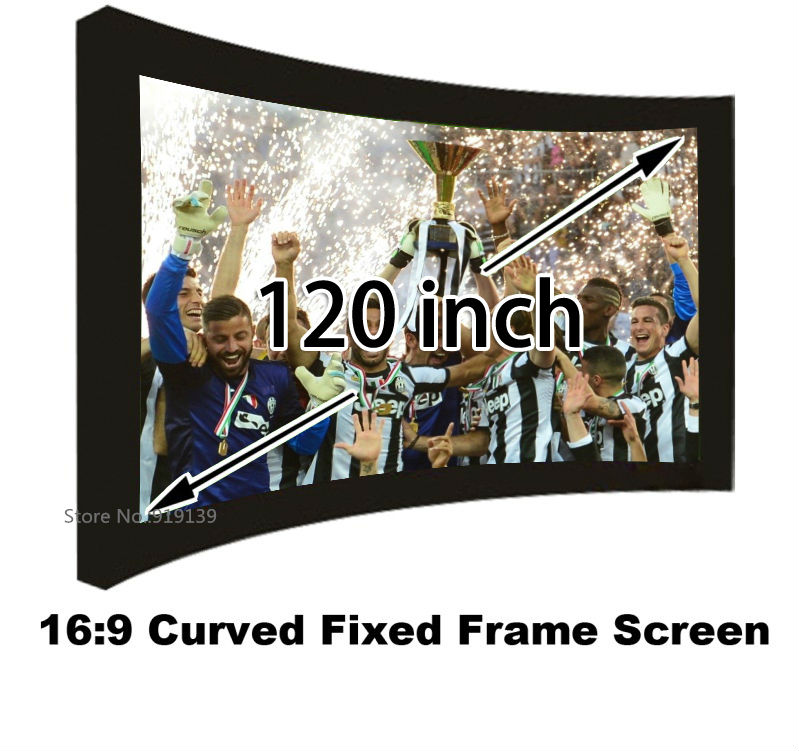 Bravo Quality 120 Inch Curved Fixed Frame Wall Mounted Projection Screen 16:9 Home Cinema Projector Screens Support 3D Theater<br><br>Aliexpress