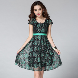 2015 Summer Women's Elegant Allover Metallic Lace Dress With Ribbon Waist O-neck Short Sleeve Fit And Flare Dress
