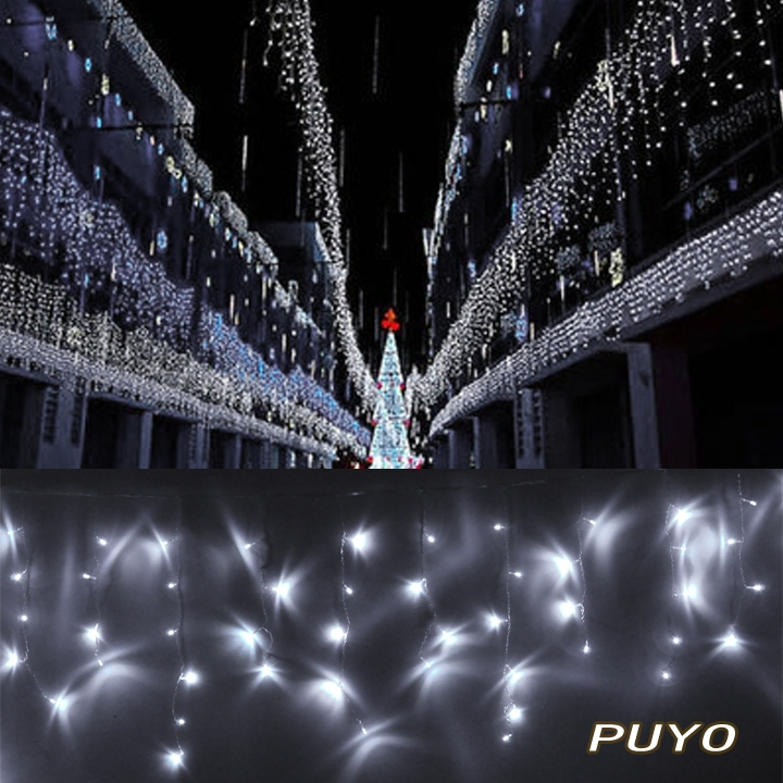 NEW 96 LED Curtain Fairy Waterproof Light For Christmas Wedding Party Garden With Tail Plug White TK1110(China (Mainland))