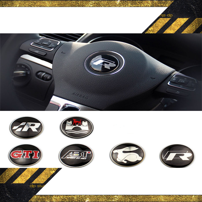 2pcs/lot High quality 44mm VW car GTI Wolfsburg R Steering Wheel Badge Emblem Sticker for Golf MK4 R32 Polo GTi(China (Mainland))