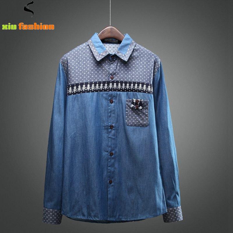 M-2XL Men's Denim Shirts 2015 New Brand Design Casual Long Sleeve Mens Jeans Shirts Heren Shirts High Quality Camisa Masculina(China (Mainland))
