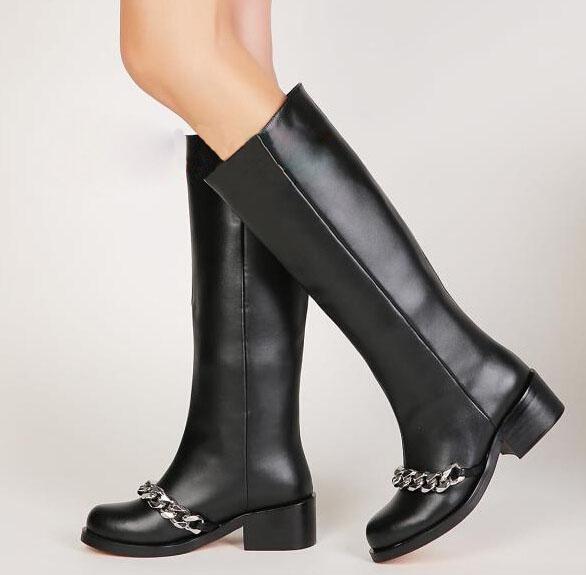 Здесь можно купить  2015 New arrival rough heel knee long boots high quality metal chain warm winter women fashion high heel boots free shipping  Обувь