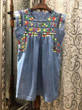 2016 Runway IM Fashion Women New Denim Colorful Heavy Birds Embroidered dress Front Pleated Short Ruffles Sleeved Round Neck(China (Mainland))