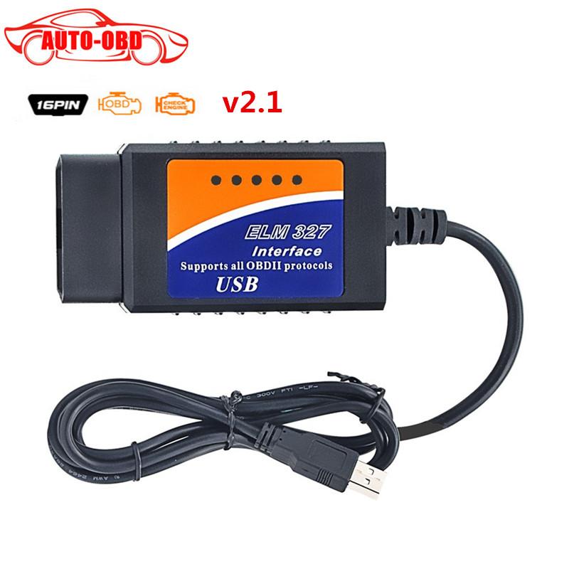 OBD OBD2 Diagnostic tools elm327 obd2 usb v2.1 interface obd obdii obd2 Car scanner ELM327 USB support all OBD-II protocols(China (Mainland))