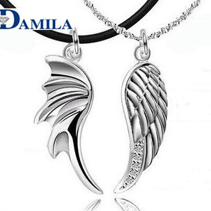 DAMILA Wholesale 925 Pure silver couples necklace lovers pendant jewelry Romantic sweethearts Perfect wings valentine's day(China (Mainland))