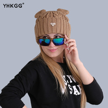 2016 cat ears hat wool winter fashion gorros cap fixing Stacking knitted hats women multicolor Personality