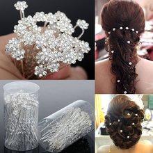 20PCS Wedding Accessories Bridal Pearl Hairpins Flower Crystal Rhinestone Diamante Hair Pins Clips Bridesmaid Women Hair Jewelry