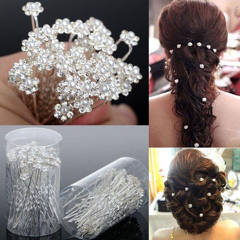 40 PCS accessoires de mariage de mariée épingles à cheveux de perles fleur strass cristal Diamante cheveux Pins Clips demoiselle d'honneur femmes bijoux de cheveux(China (Mainland))