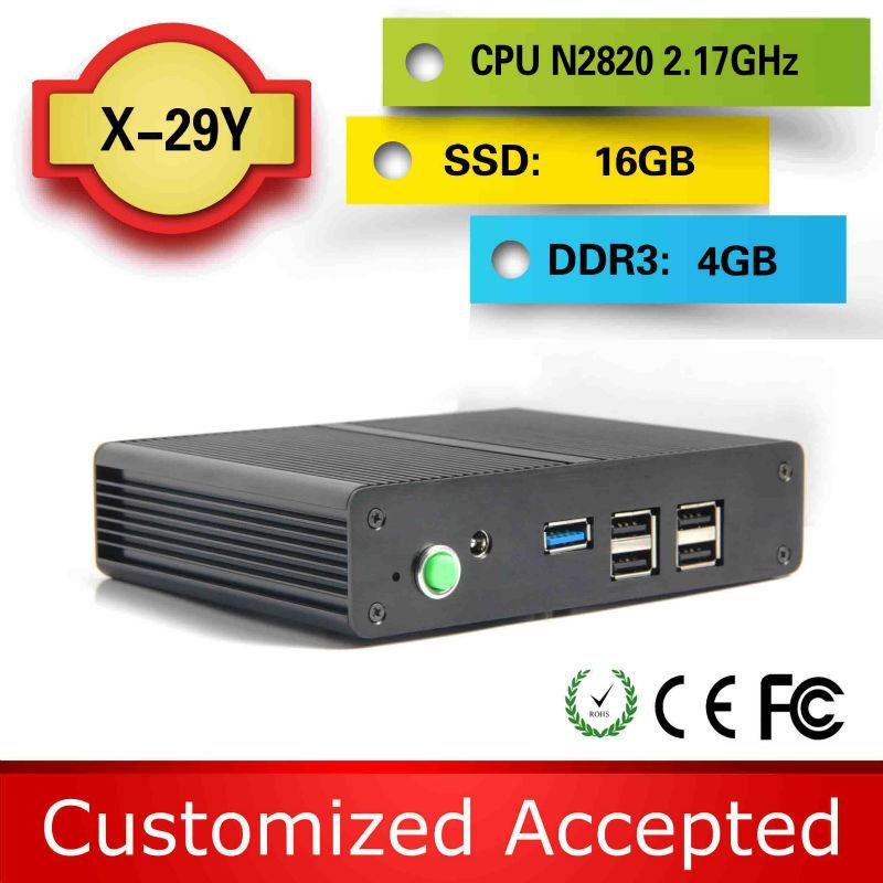 High Performance Industrial fanless pc j1900 mini pc media pc X29Y Celeron Dual core N2820 16G SSD support Ubuntu Linux 12.04(China (Mainland))