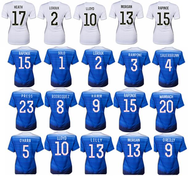 New Two Stars Women 2015-16 World cup Soccer Jerseys Blue White Solo MORGAN LLOYD Wambach RAPINOE PRESS Football Shirts Jerseys(China (Mainland))
