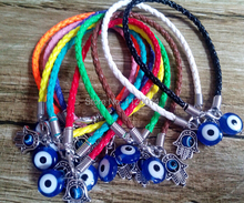 Buy New Mixed Color Leather Cords Luck Bracelet Silver Kabbalah Hamsa Hand Fatima Turkish Blue Evil Eye Charms 30pcs/lot for $16.39 in AliExpress store