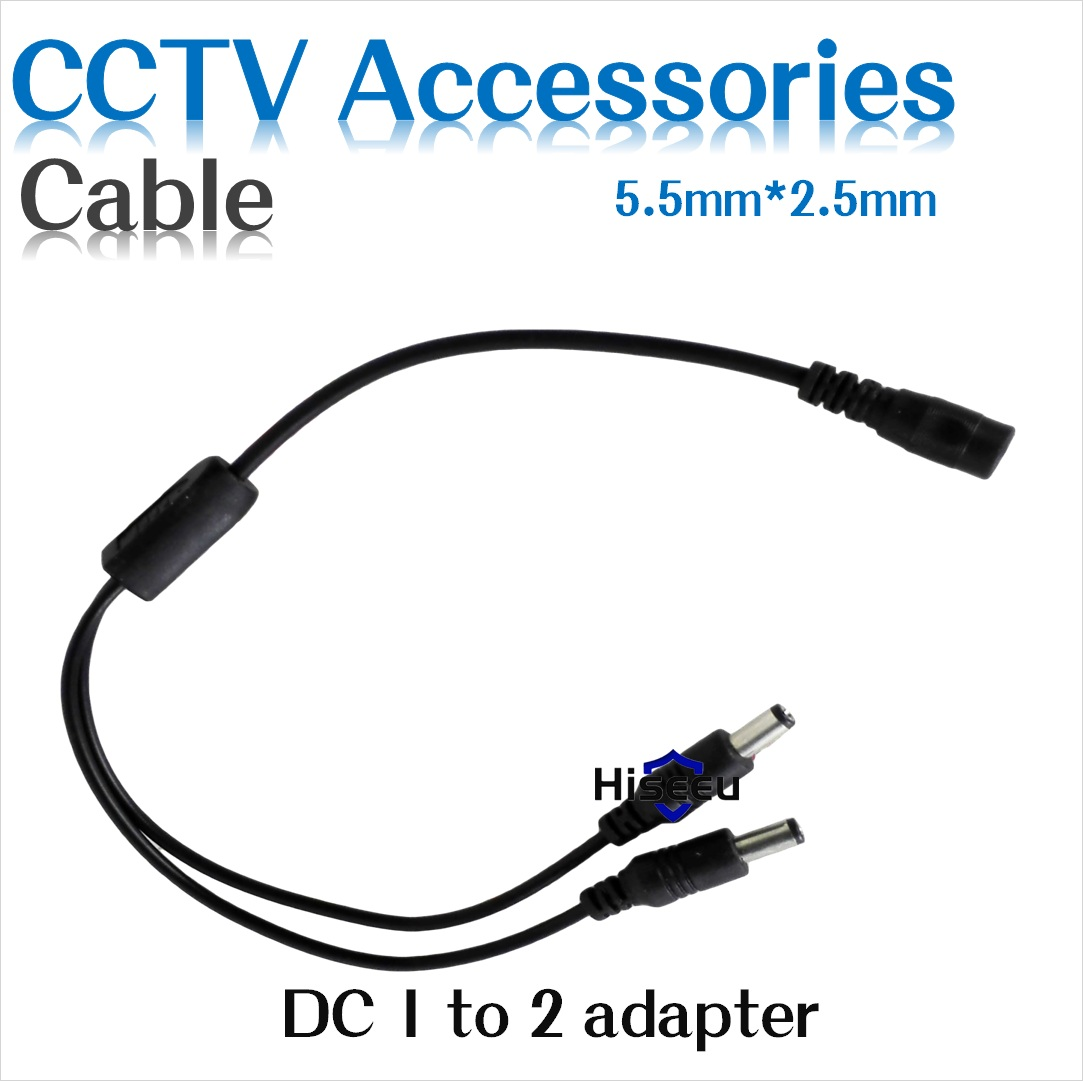 Hiseeu Wholesale Free shipping DC Power Splitter Cable 1 male to 2 Dual Female for CCTV Camera 5.5*2.1mm 2pcs/lot