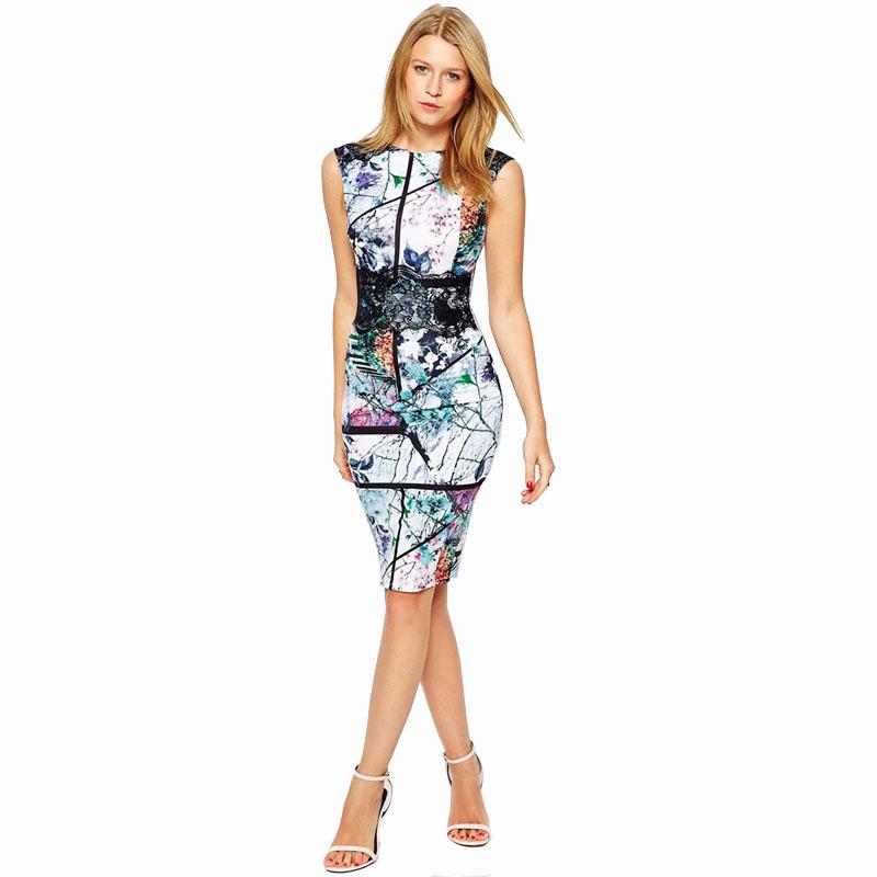 2016 Summer Style Women Fashion Dress Vintage Geometric Print Dresses Sleeveless Elegant Bodycon Dress Casual Party Dress C2089(China (Mainland))
