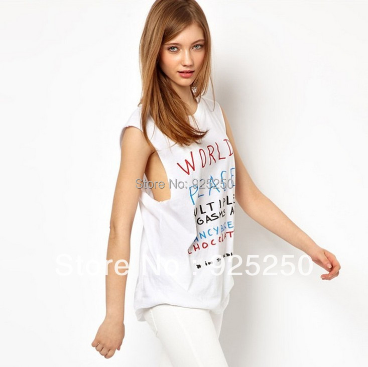 top for fashion 2014 cotton tank world peace letters