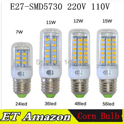 1Pcs Super bright E27 E14 G9 GU10 7W 11W 12W 15W LED corn bulb light lamp AC220V 110V SMD 5730 LED Corn Bulb Free shipping(China (Mainland))