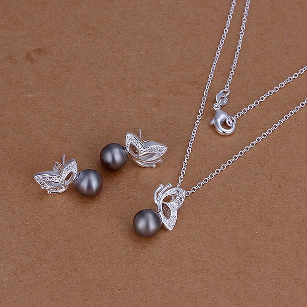 925 Silver Earring&Necklace ! Fashion Purple Pearl Butterfly Jewelry set Free Shipping S196(China (Mainland))