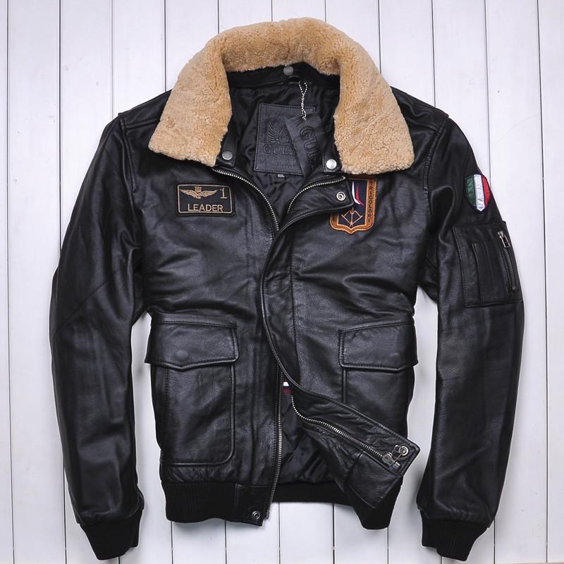 2016 New Men Pilot Leather Jacket Black Wool Collar Genuine Cowskin Slim Fit Male Winter Aviator Military Coat FREE SHIPPING(China (Mainland))