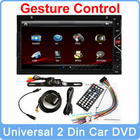 """Free shipping 2015 Gesture Control Universal 7"""" 2 Din In Dash Car DVD GPS Navigation With Stereo Video Blutooth+ Free camera"""