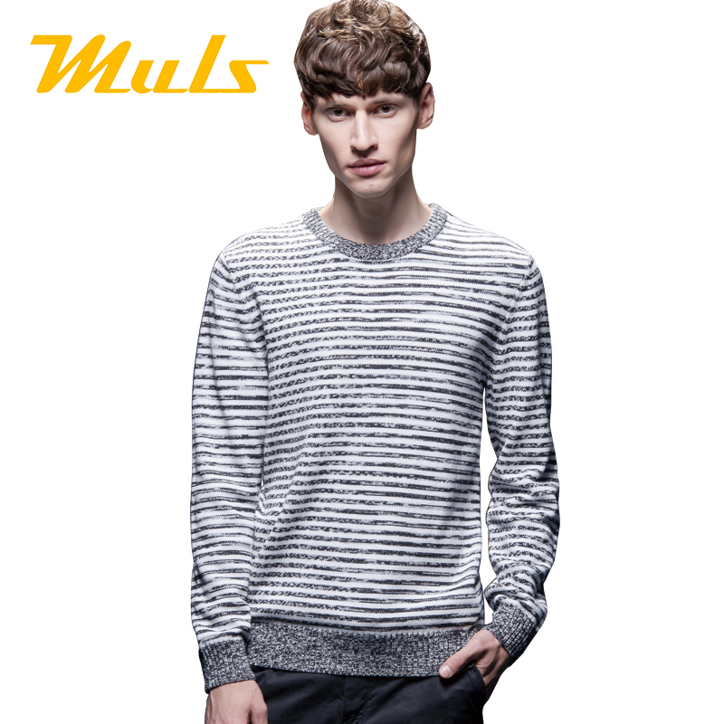 Muls brand sweater jas 2015 fashion striped 6xl cotton knitted O-neck long sleeve casaquinho pullover jumper ea7 for men 1501006(China (Mainland))