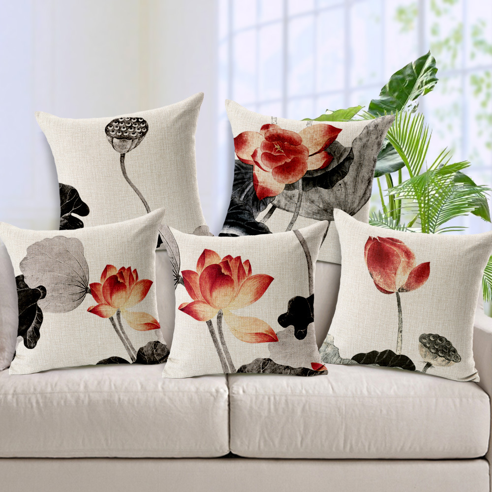 Zipper Wholesaler Valentine Day Style Ink 45Cmx45Cm Square Sofa Home Car Decorative 1 Side Printing Cushion Pillow Case Cover(China (Mainland))