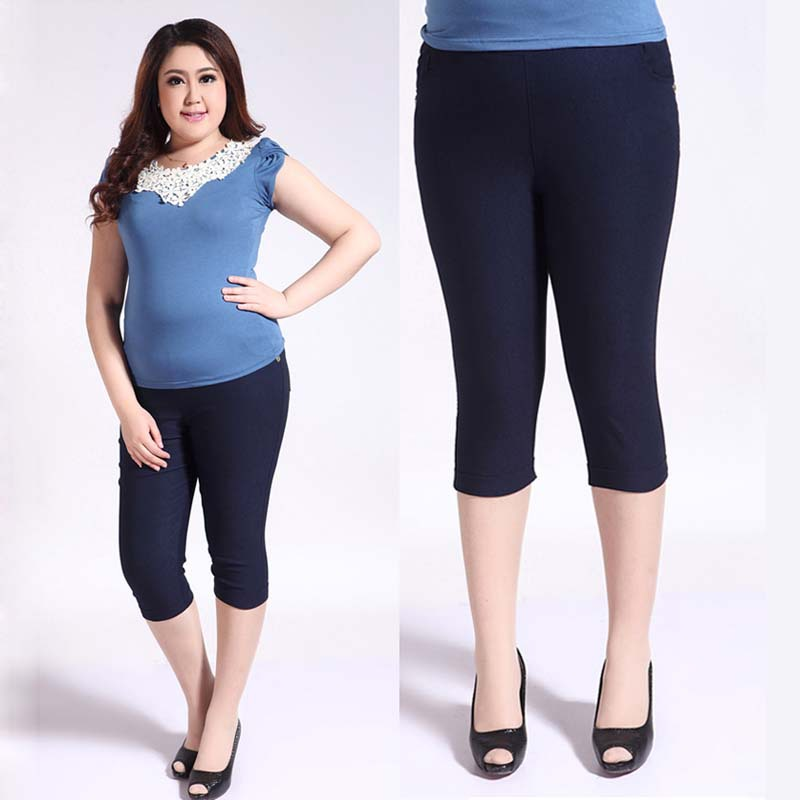Extra Large 3XL-6XL 2016 summer Korean High elastic cotton casual pants capris 5colors choice . - Fashion TOP Sweater store