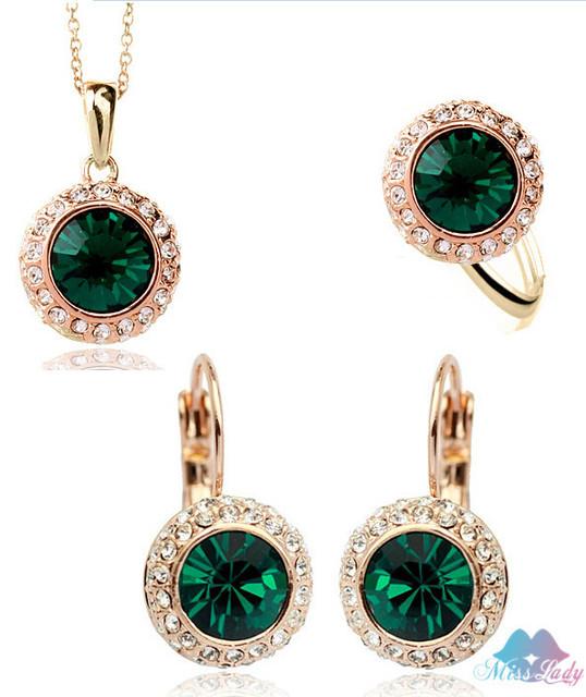 Лето ювелирные изделия 18 К позолоченные горный хрусталь винтаж речные луна кристалл ювелирные комплект мода украшения для женщин Y4335