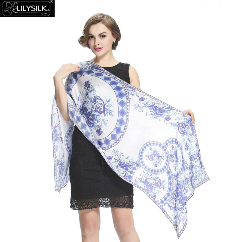 Lilysilk Women 2016 Cachecol Hijab Real Silk Scarf Luxury Brand Poncho Shawl Long Fashion Blue And White Floral Patterns Scarves(China (Mainland))