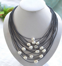 Buy ddh003210 Natural 11-13mm White Rice Freshwater FW Pearl Black leather necklace for $23.75 in AliExpress store
