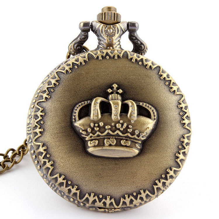 Antique Bronze Royal Imperial Crown Pocket Watch Pendant Necklace Chain Women Lady Men Unisex Gifts P29(China (Mainland))