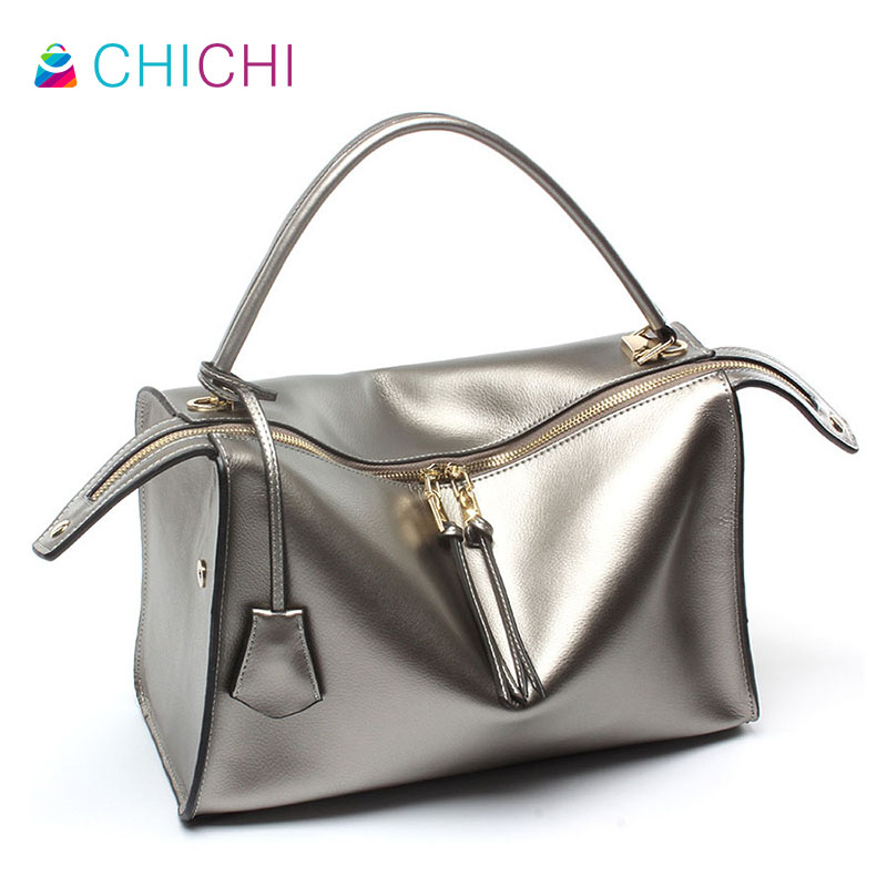 CHICHI 2016 Luxury Boston Tote Bags High Quality Women Real Genuine Leather Ladies Design Brief Square Messenger Handbags Bolsa(China (Mainland))