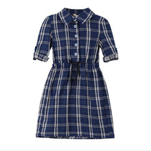 Spring Autumn girl Slim dress baby girl dress Children Clothing button font b Tartan b font