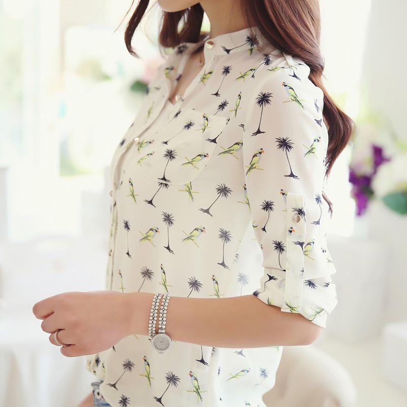2015 Casual Chiffon Women Blouse Long-sleeve Bird Printed Shirts Fashion Slim Blusas Femininas Camisas Dot Roupas - Do a pretty girl store