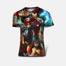 The new avengers spiderman, batman, superman, iron man, the man short sleeve T-shirt avengers alliance 2 superhero T-shirt