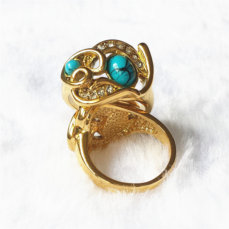 New Arrival 100% 24K Real Gold Plated Turquoise White Cubic Zirconia Rings Top Quality Fashion Luxury Jewelry with Box JZ882 CC(China (Mainland))