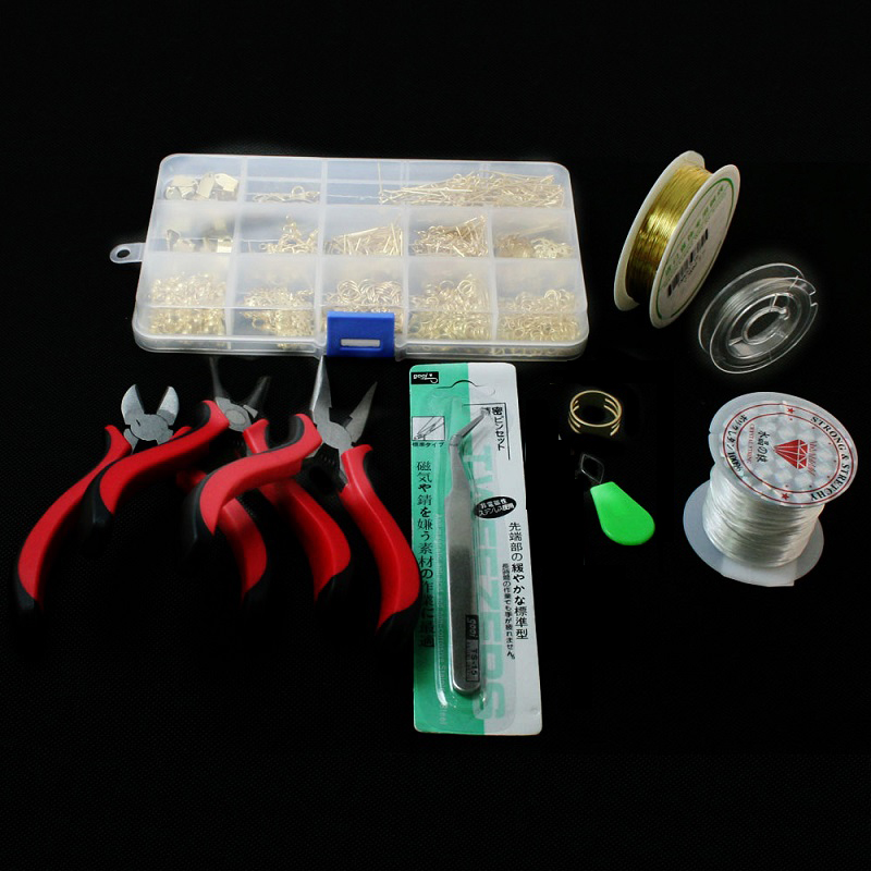 1 SET JEWELRY MAKING KIT, BEADS CAP/FINDINGS/PLIERS Fit Jewelry Accessories DIY ZH-BDH010(China (Mainland))