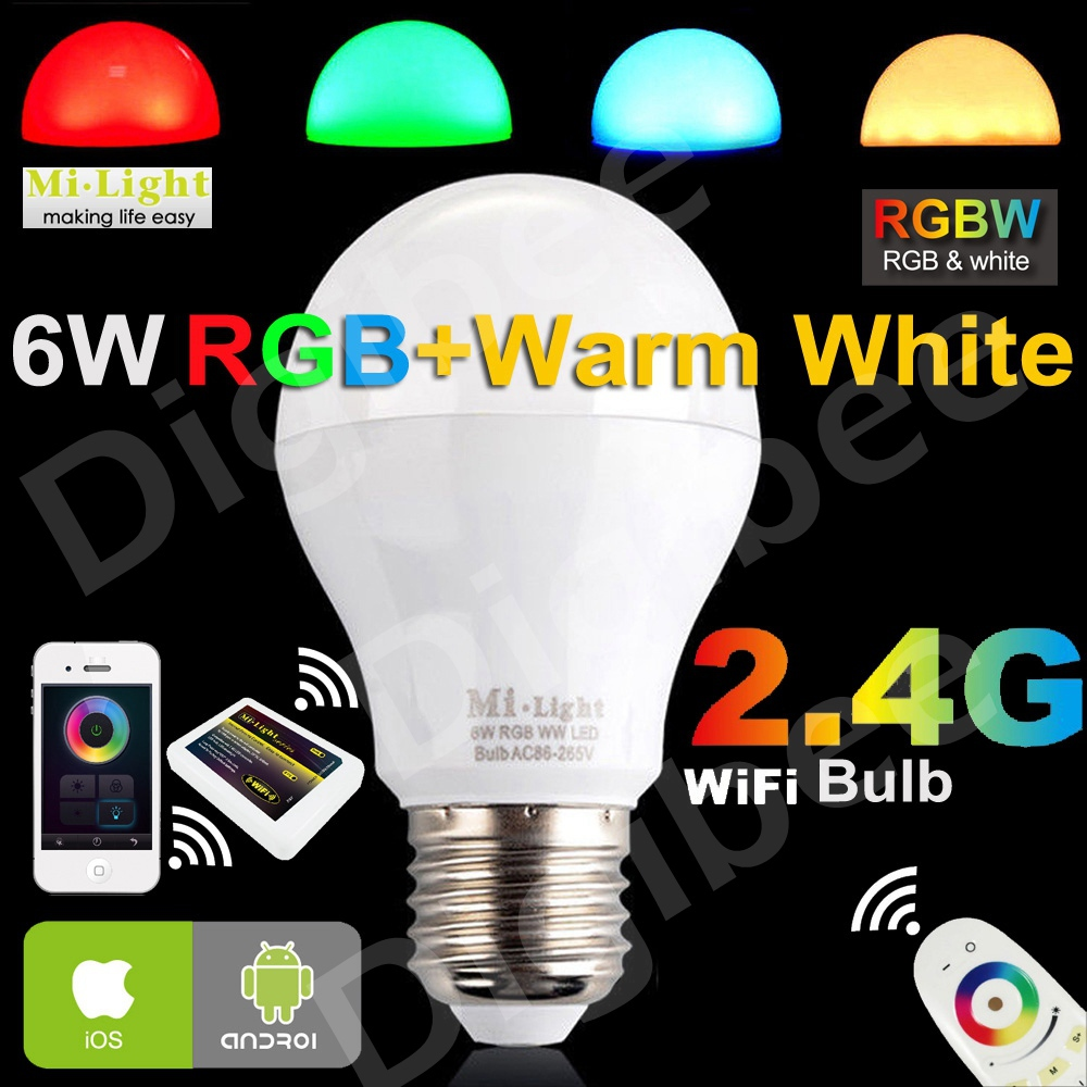 Mi Light E27 6W / 9W /12W RGBW RGB+Warm White LED Intelligent Light Milight WiFi LED Bulb Mi.light Wireless Smart Lamp AC85-240V(China (Mainland))